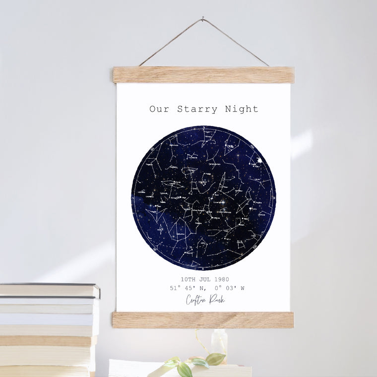 Our Night Sky Location Map Print