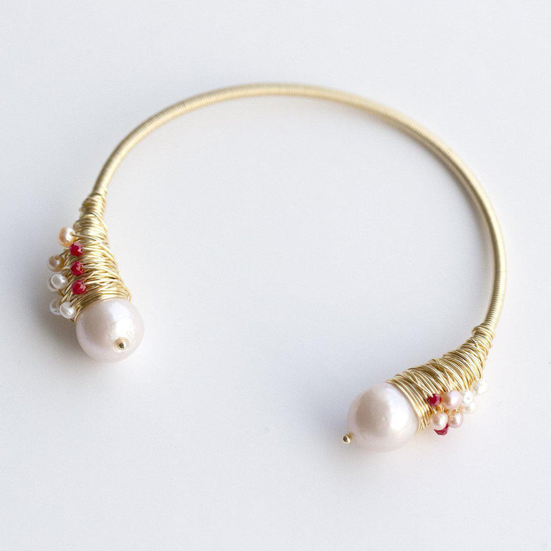 Wire Wrapped Pearl Open Bangle