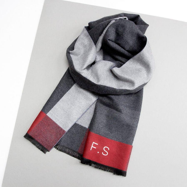Personalised Men's Colour Block Cashmere Scarf