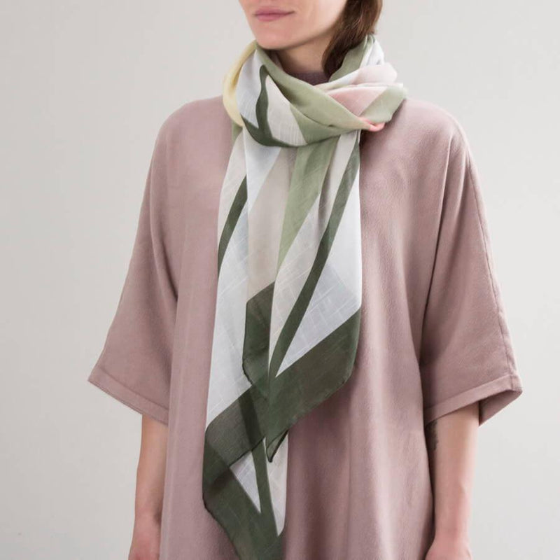 Personalised Muted Colour Block Print Scarf