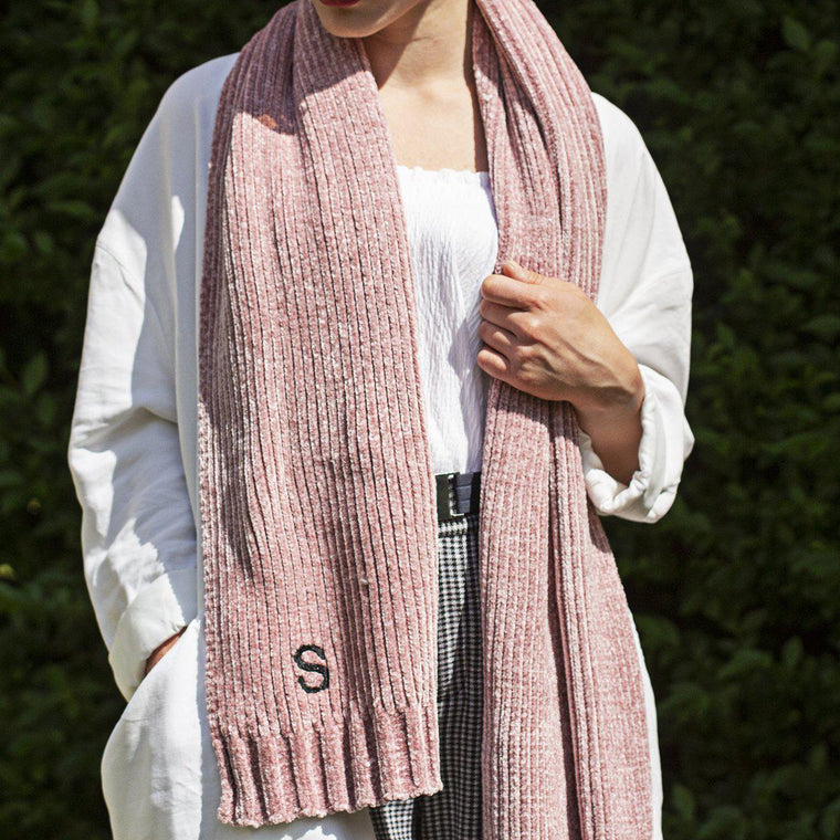 personalised-rib-knit-chenille-scarf