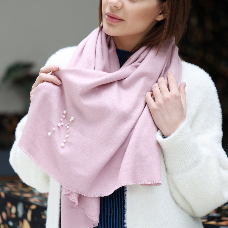 Personalised Scarf With Initial In Pearls