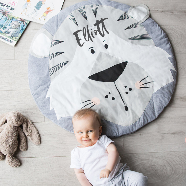 Personalised Animal Faces Baby Play Mat