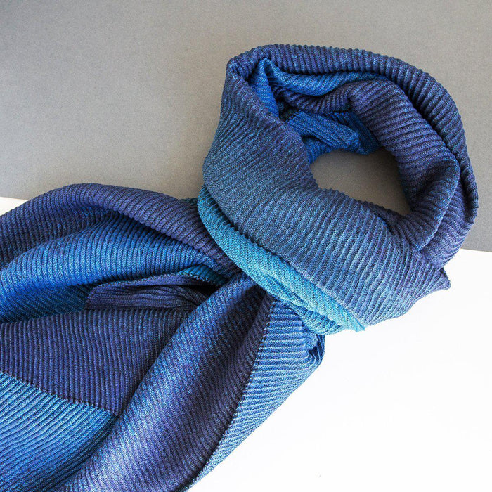 Personalised Pleated Ombre Scarf-Scarf-Studio Hop-Blue-Studio Hop