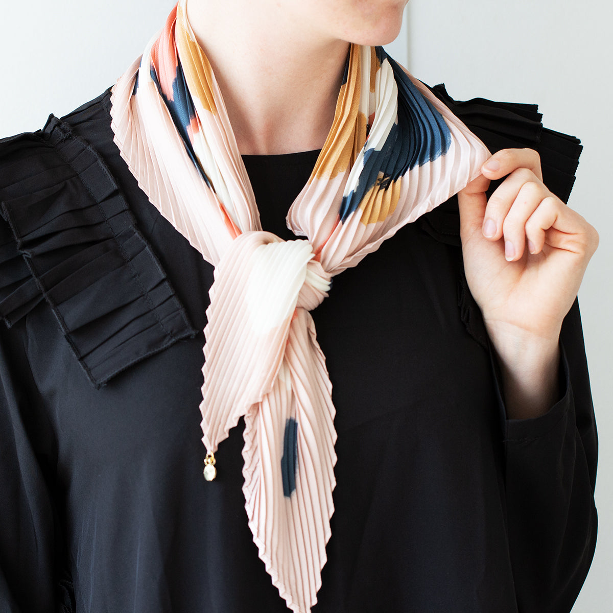 Pleated Floral Scarf with Initial Charm
