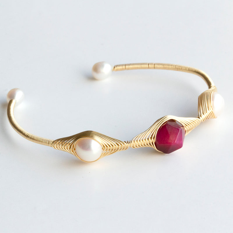 Cats Eye & Pearl Open Bangle
