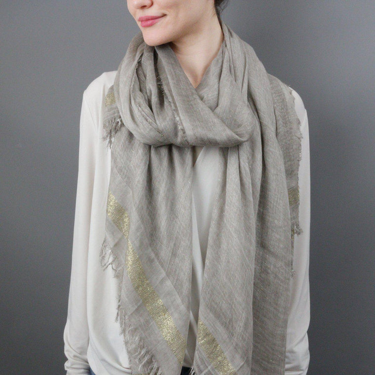 Embellished Metallic thread Scarf