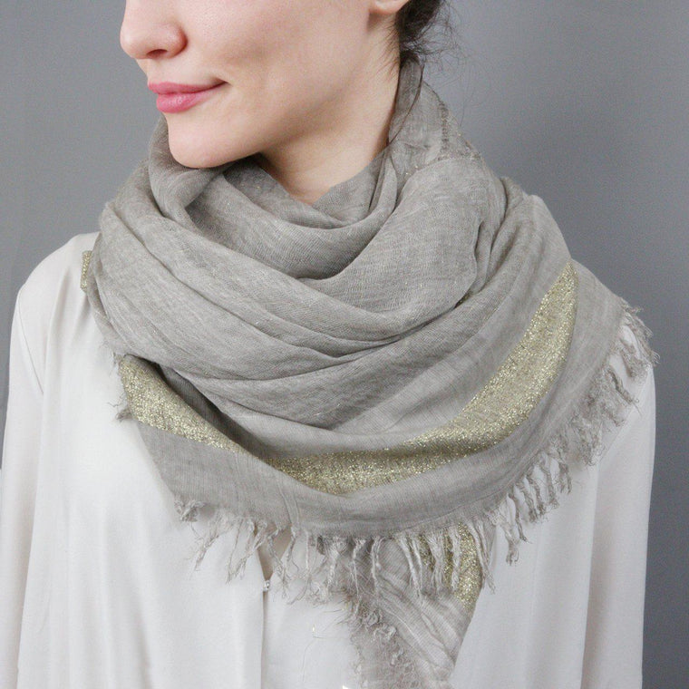 Scarf - Embellished Metallic Thread Scarf