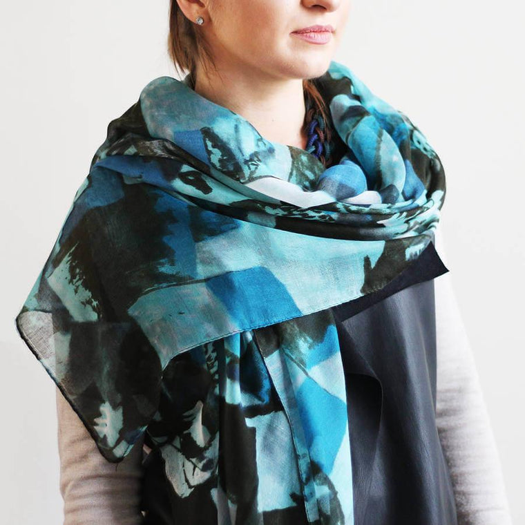 Faded Abstract Print Scarf