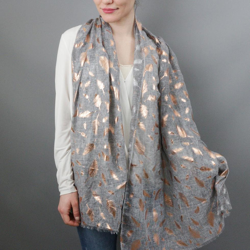 Scarf - Feather Dye Effect Foil Print Scarf
