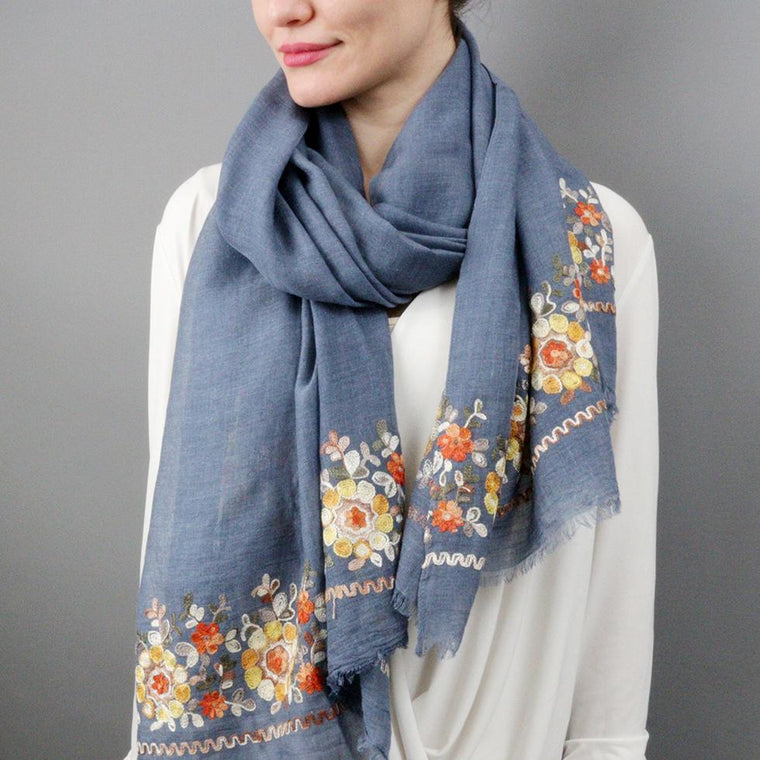Floral pattern Embroidered Scarf