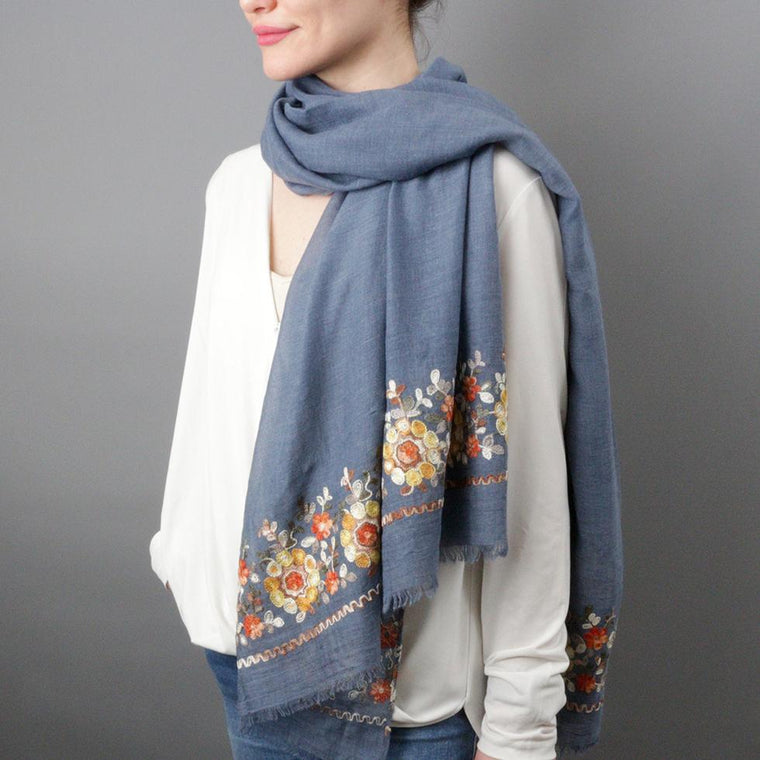 Scarf - Floral Pattern Embroidered Scarf