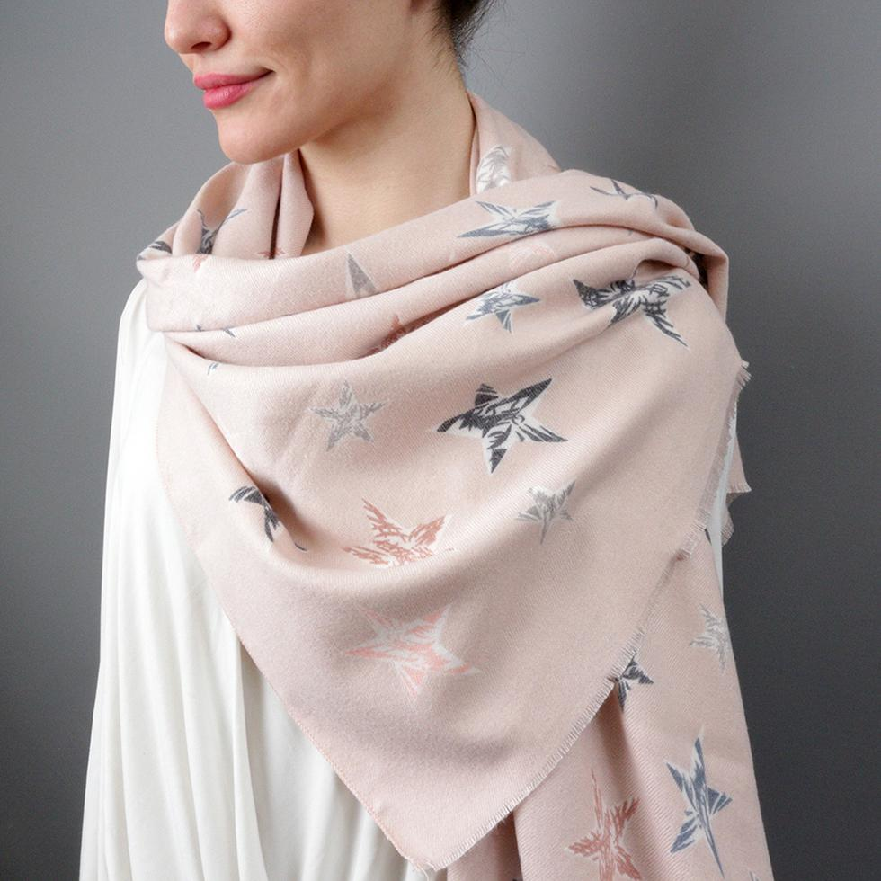 Scarf - Personalised Cashmere Stars Filled With Joy Scarf
