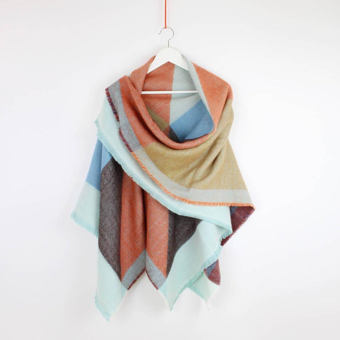 Scarf - Personalised Colour Block Oversized Scarf Blue & Orange