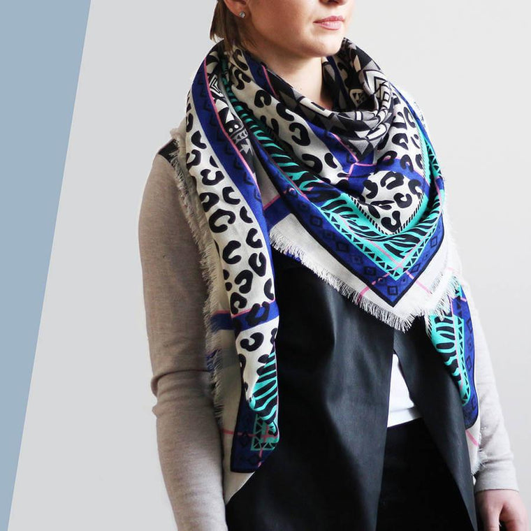 Scarf - Personalised Leopard Mash Up Geometric Print Scarf