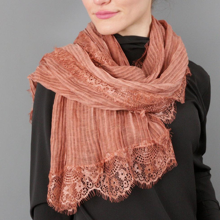 Pleated Lace Fringe Scarf