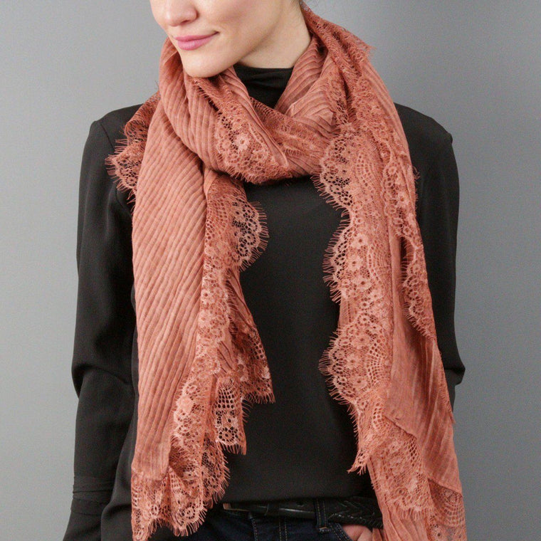 Scarf - Pleated Lace Fringe Scarf