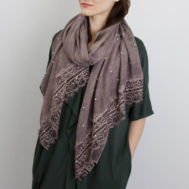 Scarf - Soft Scarf With Pearl Lace Details