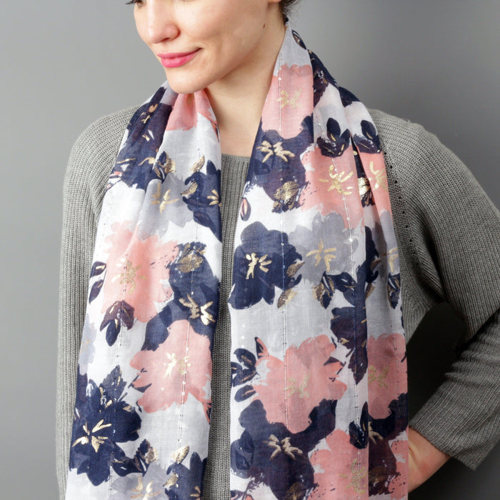 Scarf - Spring Flowers With Gold Foil Effect