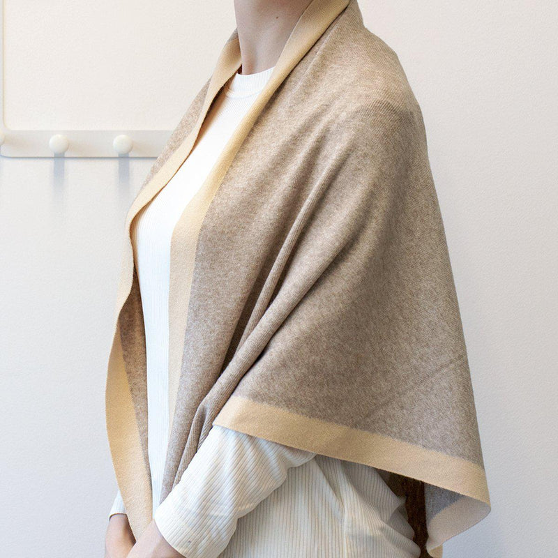 Cosy Knit Bordered Triangle Scarf
