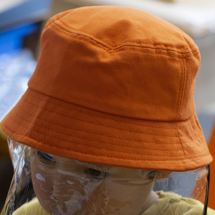 Kids Fisherman Hat With Soft Protective Face Visor-Hat-Studio Hop-Orange-Studio Hop