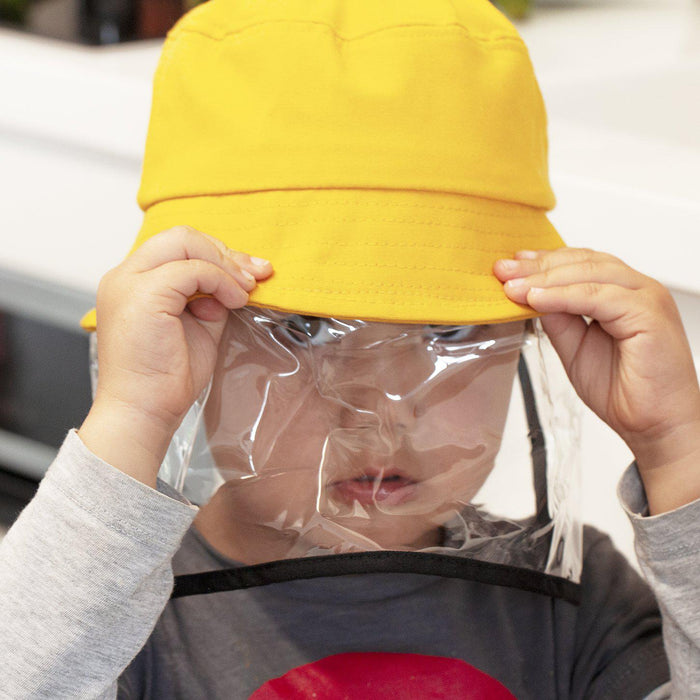 Kids Fisherman Hat With Soft Protective Face Visor-Hat-Studio Hop-Yellow-Studio Hop