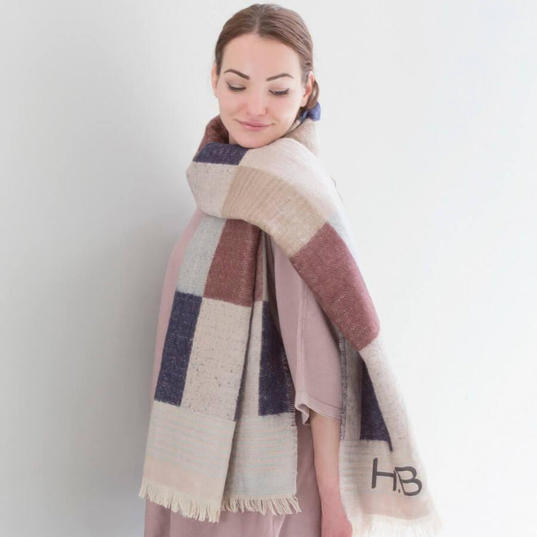 Shawl - Personalised Check And Square Shawl With Feather Trim
