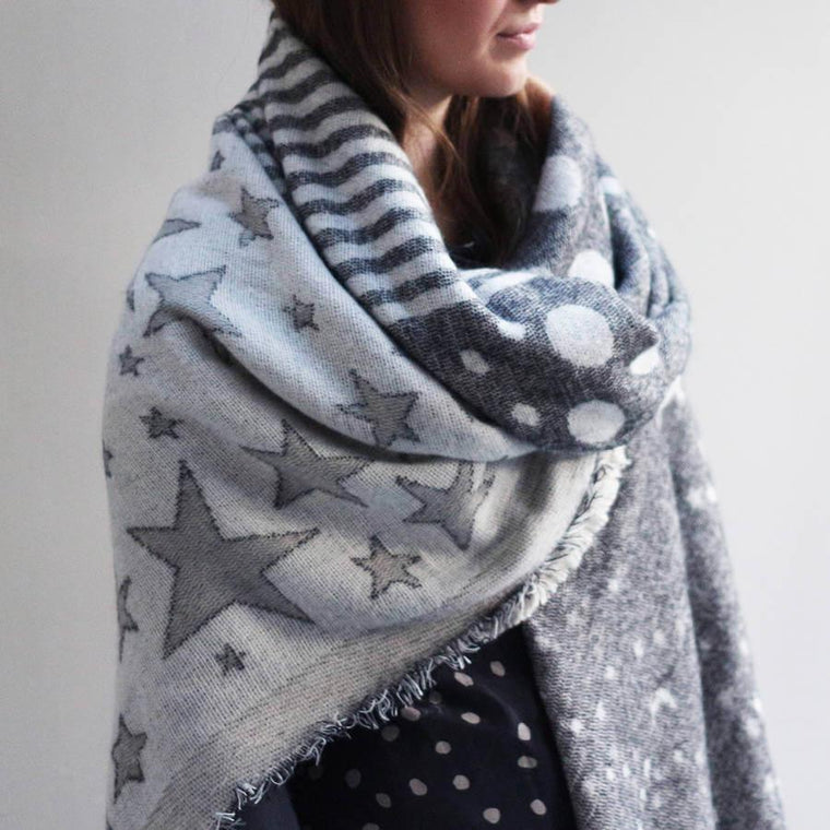Reversible Stars Sun And Moon Shawl