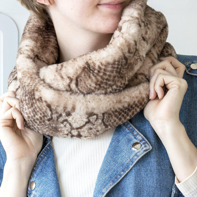 snake-print-twisted-fluffy-cowl