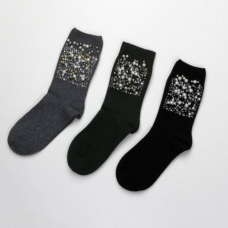 Socks - Metallic Gathered Pearl Socks