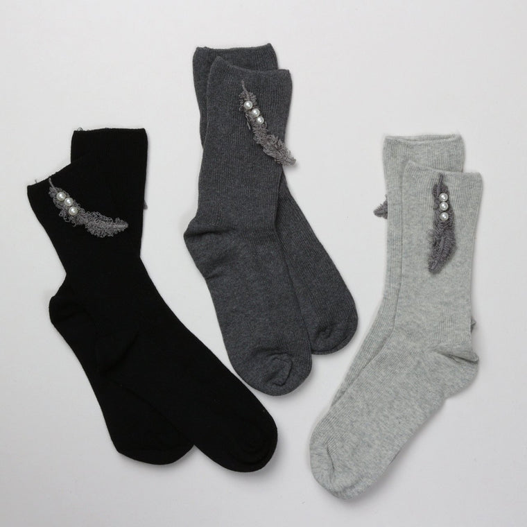 Socks - Super Soft Feather Embellished Socks