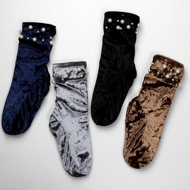 Socks - Velvet Pearl Detail Loose Fit Ankle Socks