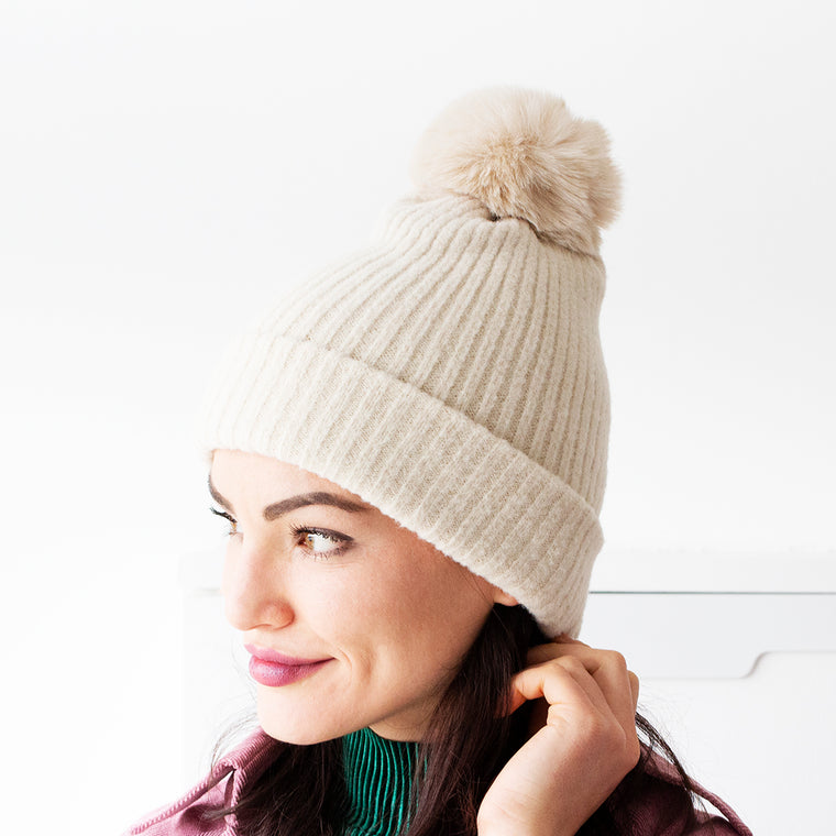 Brushed Rib Knit Beanie Hat