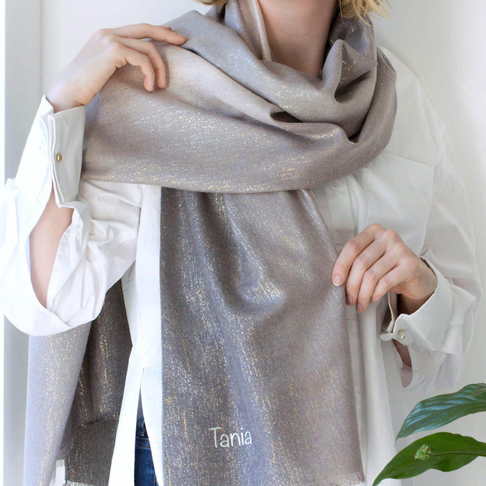 Personalised Shimmering Cashmere Blend Gradient Scarf