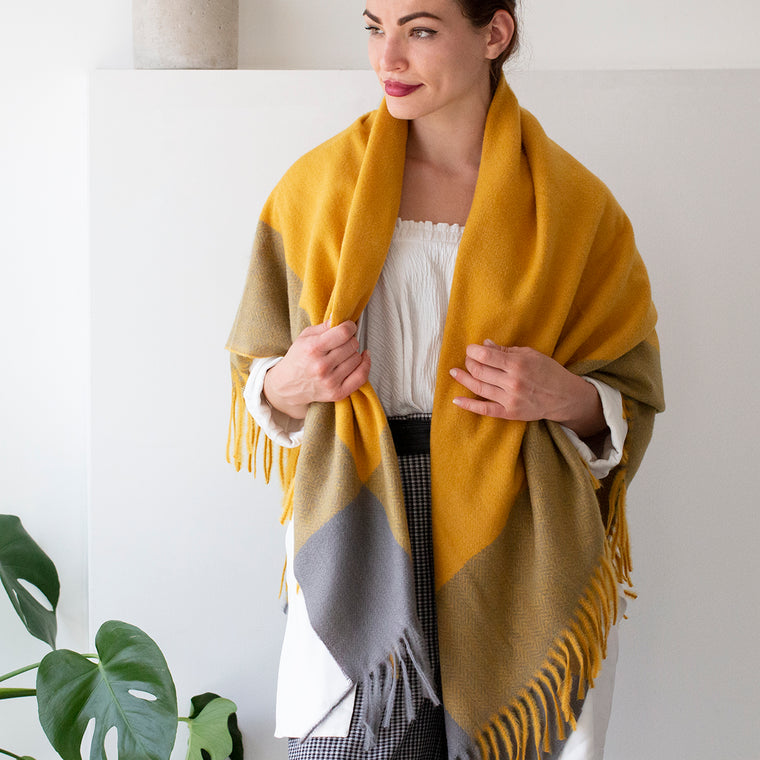 Brushed Squares Herringbone Blanket Scarf