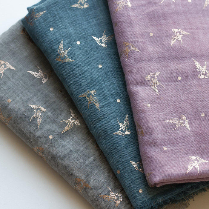 Swooping Swallows Foil Scarf Letterbox Gift