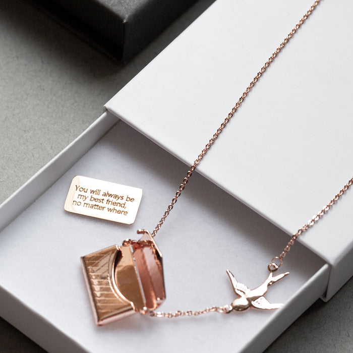 Engraved Secret Message Swallows Necklace