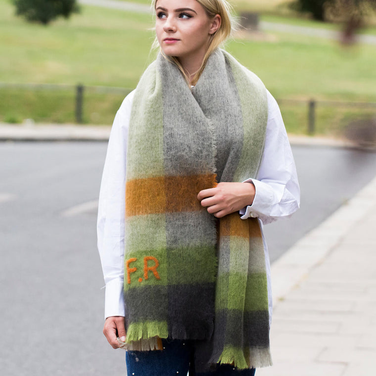 Felted Check Blanket Scarf