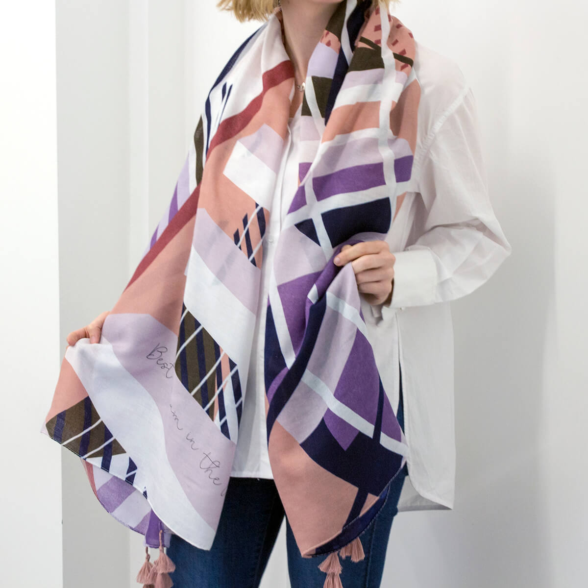 Personalised Sweet Tassel Geometric Scarf