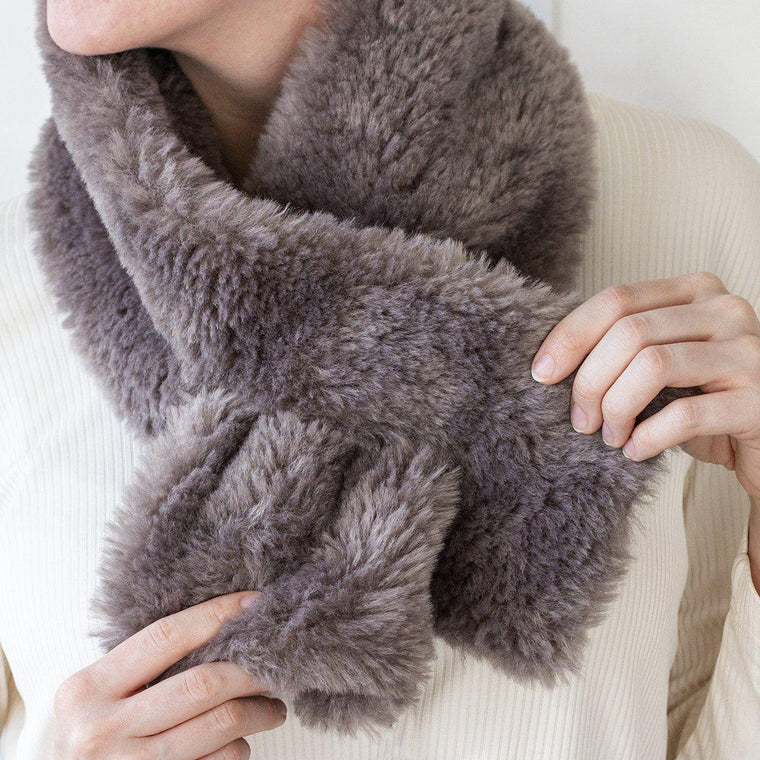 Cosy Teddy Neck Wrap-Scarf-Studio Hop-Brown-Studio Hop