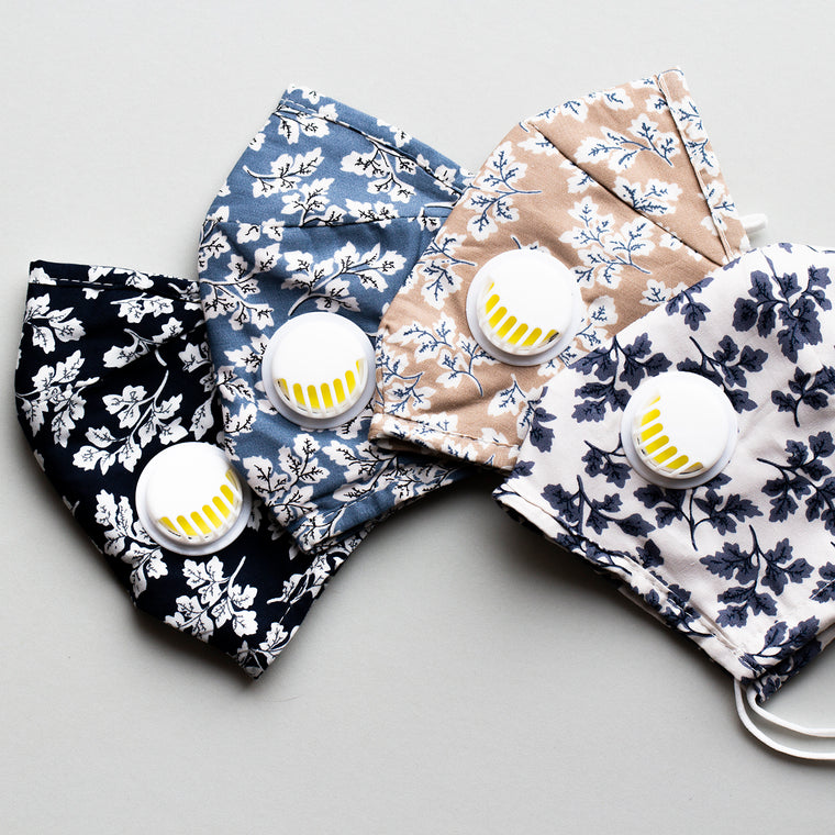 Reusable Floral Cotton Face Masks with Filter Pocket