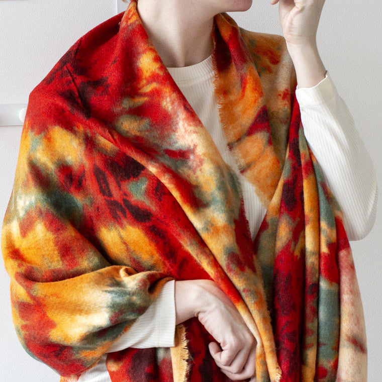 Tie Dye Winter Blanket Scarf