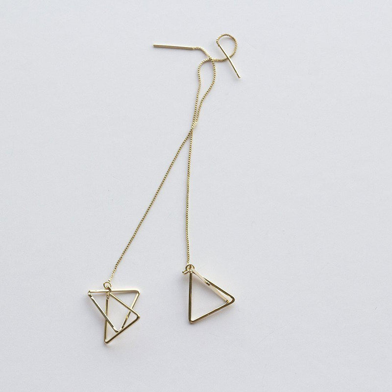 Gold Draping Triangles Long Earrings
