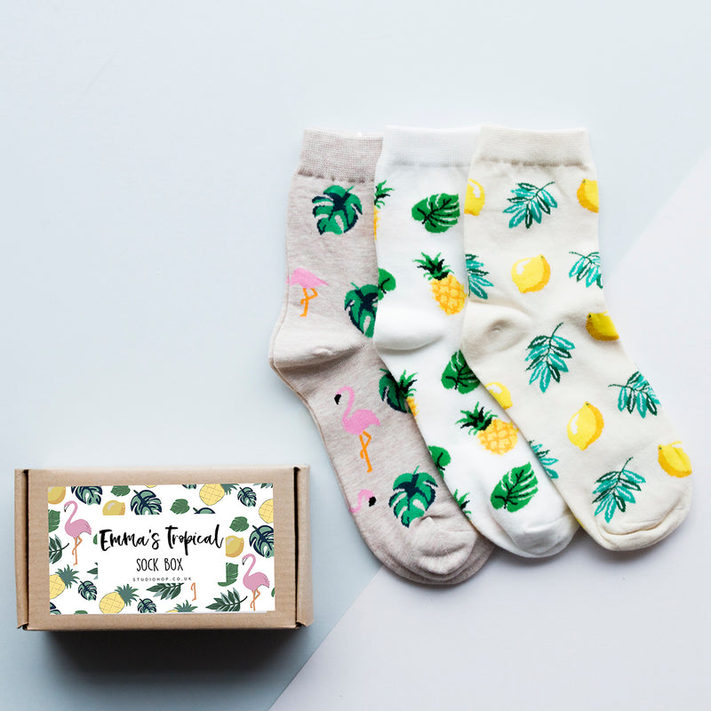 Personalised Tropical Fruits Sock Box
