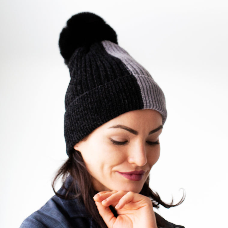 Two Tone Chenille Knit Hat