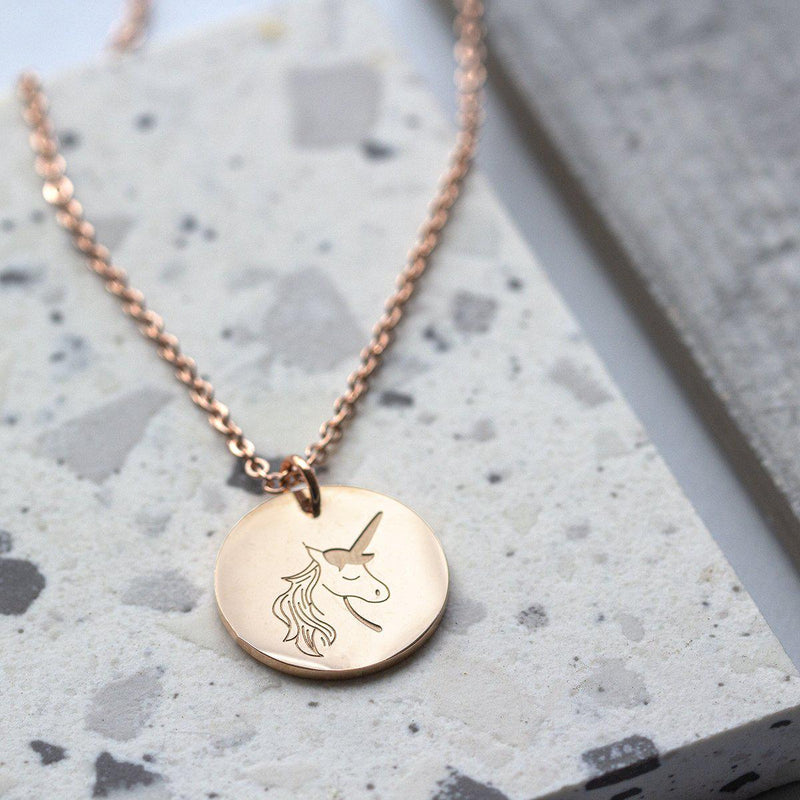 Rose Gold Unicorn Pendant Necklace-Necklace-Studio Hop-Studio Hop