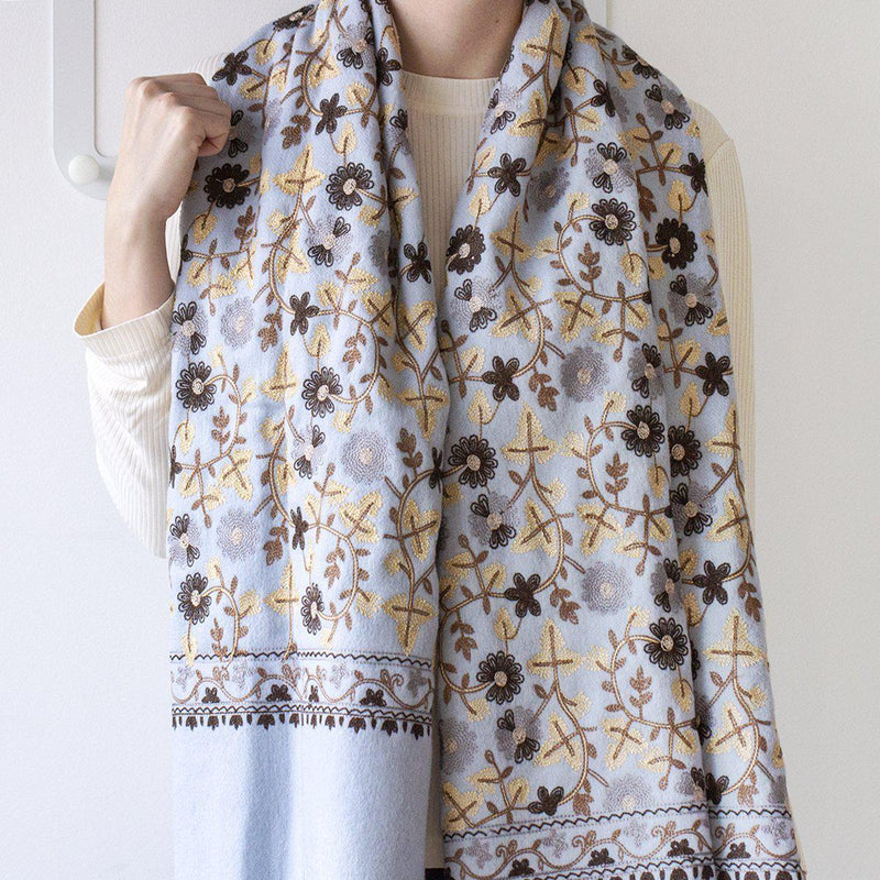 Personalised Virgin Wool Floral Scarf-Scarf-Studio Hop-Sky Blue-Studio Hop