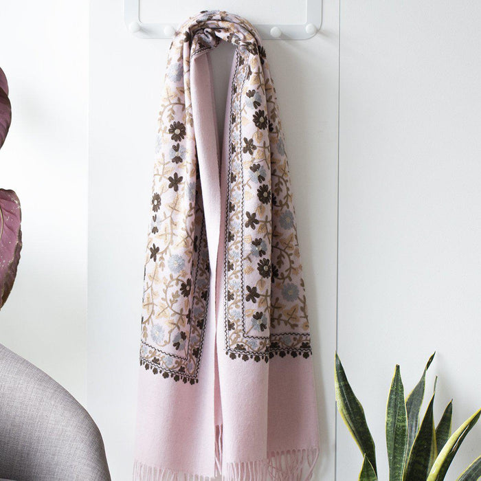 Personalised Virgin Wool Floral Scarf