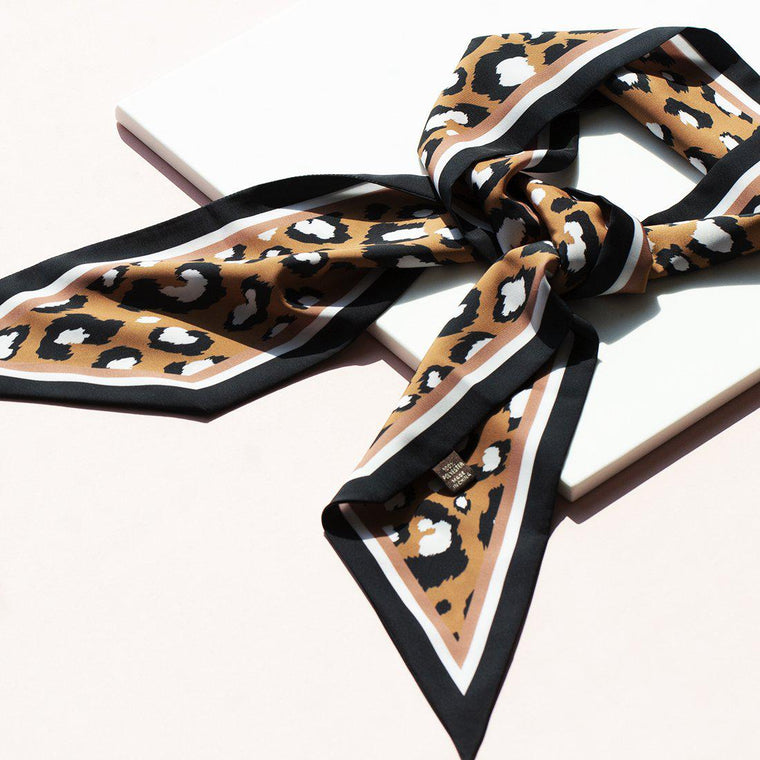 Neutral Leopard Ladies Neck Tie