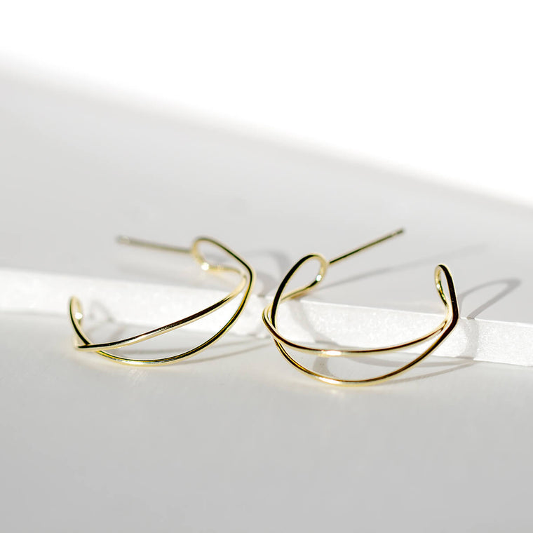 Delicate Wire Curl Drop Earrings
